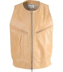 tan leather gilet jacket