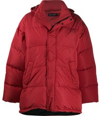 balenciaga short padded parka coat - red