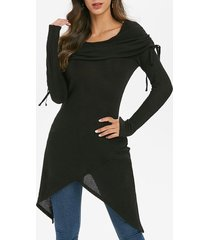 foldover long tunic handkerchief knitwear