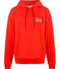 martine rose drawstring logo hoodie - red