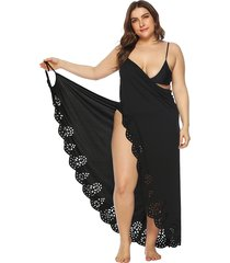 vestido de playa sin mangas con cuello en v y diseño sin mangas de talla grande