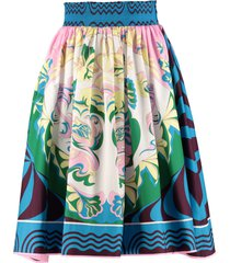 emilio pucci printed cotton skirt