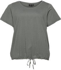 t shirt short sleeves plus adjustable drawstring t-shirts & tops short-sleeved grön zizzi