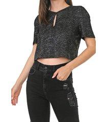 camiseta dimy metalizada preta - preto - feminino - poliã©ster - dafiti