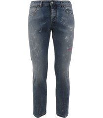 5 pocket jeans dark wash denim with abrasions and paint