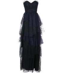 marchesa notte tiered ruffled strapless gown - black
