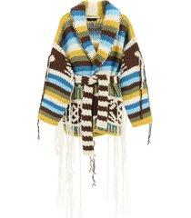 alanui fringed knitted cardigan