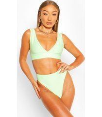 mix & match plunge bikini top, mint