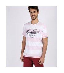 "camiseta masculina seafarer"" listrada manga curta gola careca vermelha"""