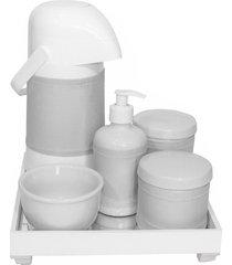 kit higiene espelho completo porcelanas, garrafa e capa prata quarto beb㪠 - prata - dafiti