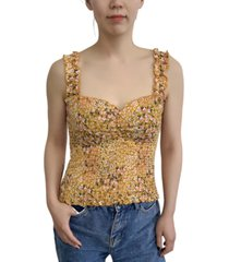 crave fame juniors' floral-print smocked top