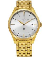 alexander watch a911b-08, stainless steel rose yellow tone case on stainless steel yellow gold tone bracelet
