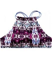 bikini peto cuello alto cruzado estampado burdeo samia