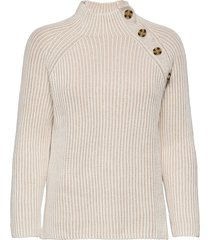 asymmetrical button mockneck raglan sweater stickad tröja beige gap