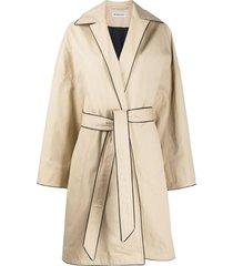 beige cocoon belted jacket