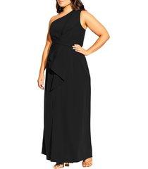 plus size women's city chic alegra one shoulder maxi dress