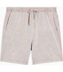 mens brown stone wash jersey shorts