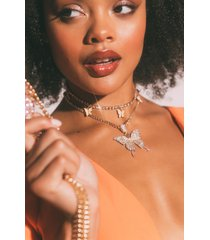 akira lady butterfly two chain necklace