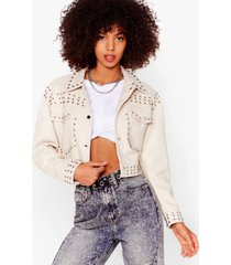 womens tell me about it stud faux leather shirt jacket - cream