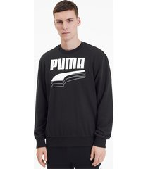 rebel bold crew neck sweater voor heren, zwart, maat xs | puma