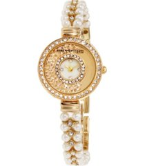 adrienne vittadini collection women's gold analog quartz watch with mother of pearl dial and stone accent strap
