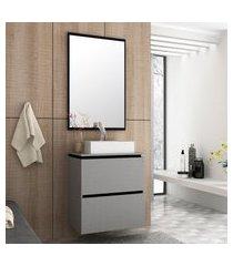 conjunto banheiro urban bosi gabinete suspenso + cuba e espelheira argento/preto