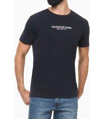 camiseta masculina estampa nas costas reverse azul marinho calvin klein jeans - pp
