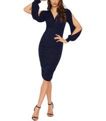ax paris women's split sleeve ruched bodycon dress