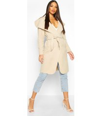 belted shawl collar coat, stone