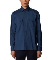 boss men's farley open blue shirt