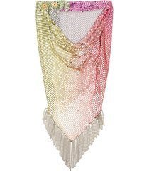 paco rabanne rainbow mesh scarf - silver
