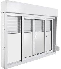 janela de pvc com persiana bazze design, 100 x 120 cm, branca com puxador preto