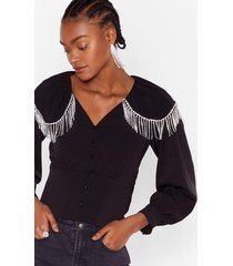 womens break the ice diamante button-down blouse - black