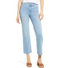 women's paige - transcend relaxed colette high waist raw hem flare leg jeans, size 27 - blue