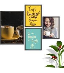 kit conjunto 4 quadro oppen house s frases com cafã© quente sempre bom lojas cafeteria xãcaras grã£os moldura preta decorativo interiores    sem vidr