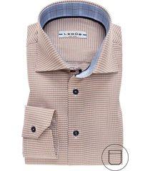 overhemd ledub bruin dessin strijkvijr