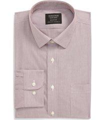 men's big & tall nordstrom men's shop smartcare(tm) trim fit stripe dress shirt, size 18 - 36/37 - burgundy