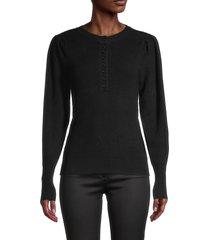 design 365 women's ribbed long-sleeve henley - white - size m
