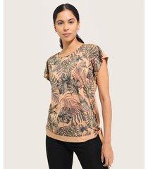 camiseta manga corta unicolor  estampada anudado en pretina