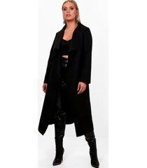 plus nepwollen jas, zwart