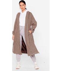 womens never belt this way check longline coat - chocolate