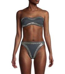 norma kamali women's embellished strapless bikini top - pewter - size xs