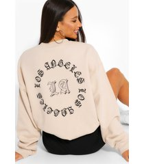 tall 'los angeles' sweater met rugopdruk, zand
