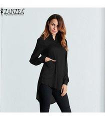 nuevo zanzea mujer blusas femininas 4 bolsillos de colores casual turn down collar blusa camisas transparentes vestido tops de manga larga (negro) -negro
