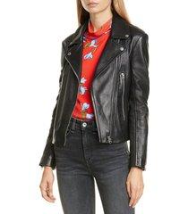 women's rag & bone mack lambskin leather jacket, size medium - black