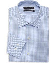 saks fifth avenue men's classic-fit gingham dress shirt - blue - size 17 34