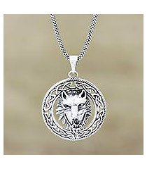 sterling silver pendant necklace, 'furious wolf' (india)