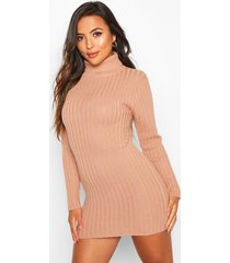 petite rib knit roll neck micro mini sweater dress, dusky pink