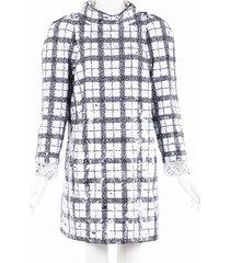 chanel checked sequin tweed dress black/white sz: xl