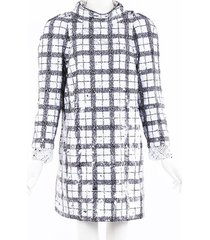 chanel checked sequin tweed dress